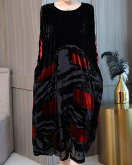 Print Patchwork Velvet Dresses