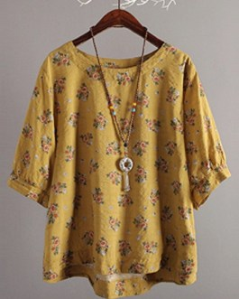 Round Neck Batwing Sleeve Cotton Blouse