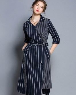Striped Shirt Dress Buttons Irregular Midi Dress