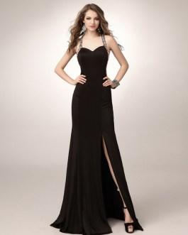 Black Prom Long Mermaid Halter Evening Formal Dress