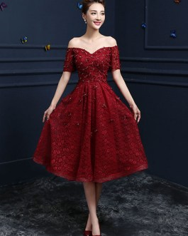 Lace Cocktail  Flower Beading Prom Party Dress
