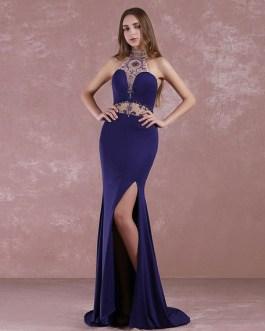 Prom Halter Long Evening Beaded Sweep Train Split Party Dress