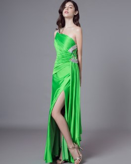 Sexy Evening Dresses One Shoulder Long Prom Dress High Split Beading Green Formal Gowns