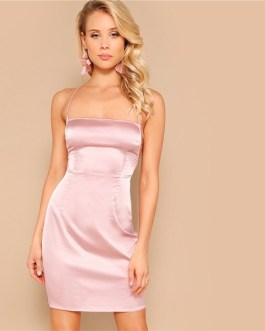 Sexy Pastel Pink Bodycon Summer Glamorous Club Party Slim Dresses