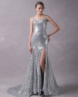 Sequined Beaded Glitter Sexy High Split Cross Back Less Evening Dresse With Train