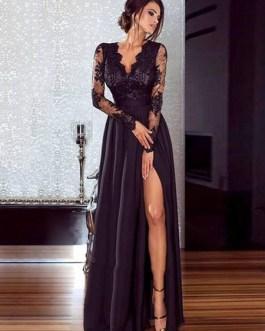 Women Black Long Dress Illusion Sleeves High Split Lace And Chiffon Sexy Dress