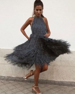 Sexy Maxi Dress Sleeveless Halter Fringe Irregular Party Dress
