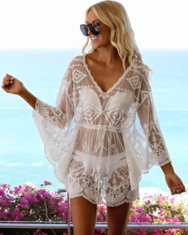 Beach Cover Up Dress Sheer Lace V Neck Long Sleeve Women Bathing Suit