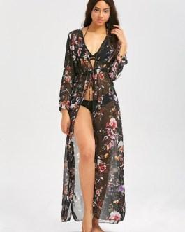 Floral Cover Up Long Sleeve Split Chiffon Beachwear