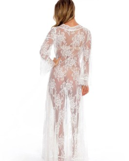 Lace Cover Up Long Sleeve Open Front Sheer Sexy Beachwear