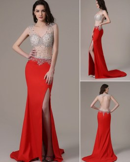 Red Prom Long Mermaid Evening Party Dress With Train