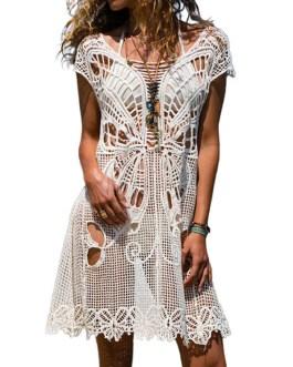 Sexy Cover Up Dress Crochet Lace Sheer Beachwear For Women