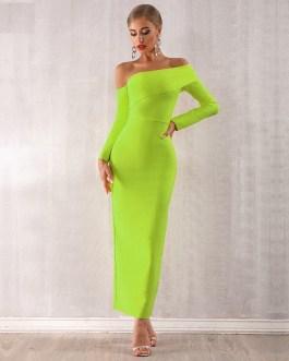 Women Bandage Off Shoulder Evening Party Maxi Dress