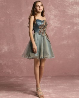 Tulle Applique Beaded Sweetheart A line Short Party Prom Dress