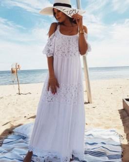 Women Boho Maxi Dress Lace Half Sleeve Cold Shoulder Beach Dress
