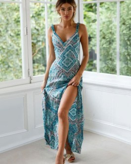 Boho Maxi Dress Sleeveless Cut Out Knotted Printed Dress