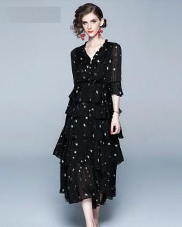 Ladies stars Print sexy fashion long mesh party dress