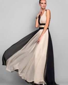 Maxi Party Dress Two Tone Chiffon Plunging Cross Back Women Formal Dress