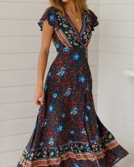 Sexy Printed Bow Holiday Beach Wrap Dresses