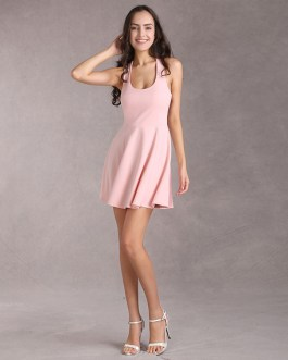 Short Fit and Flare Dress U Neck Bow Trim Backless Homecoming Dress