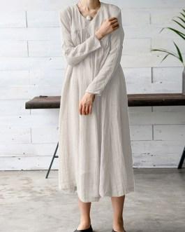 Vintage Women Solid Color V-Neck Long Sleeve Maxi Dress