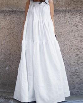 Women Sleeveless O-neck Loose Swing Maxi Casual Dress