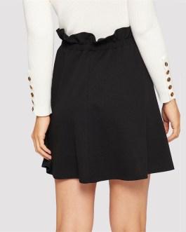 Black Paperbag Waist Ruffle Button Front Shift Skirt