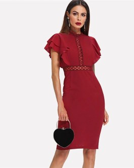 High Waist Vintage Lace Eyelet Bodycon Party Dress