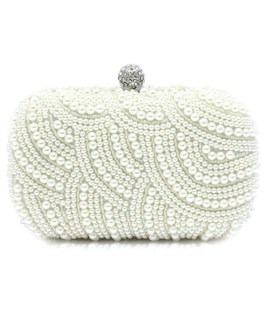 Pearls Clutch Evening Purse Bridal Beaded Great Gatsby Handbags