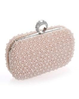 Wedding Handbag Pearls Glitter Alloy Handbag