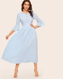 Women Button Front Flounce Sleeve Elegant Fit and Flare Long Dress