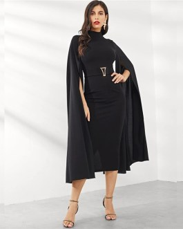 Women Exaggerate Split Sleeve Belted  Party Bodycon Dress