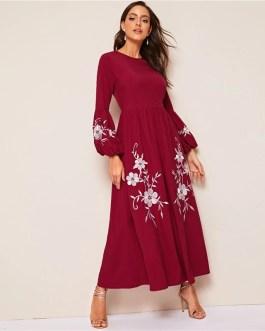 Women High Waist Lantern Sleeve Floral Embroidered Dress