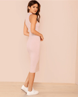 Women Stand Collar Sleeveless Elegant Bodycon Dress