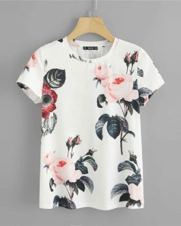 Women Weekend Casual Short Sleeve Tshirt White Going Out Ladies Tops