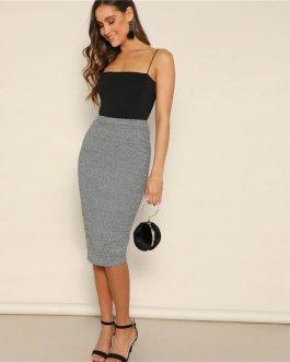 Womens Basics Elegant Office Lady High Waist Sexy Long Skirt