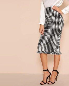 Women Elegant Casual High Waist Straight Long Skirt