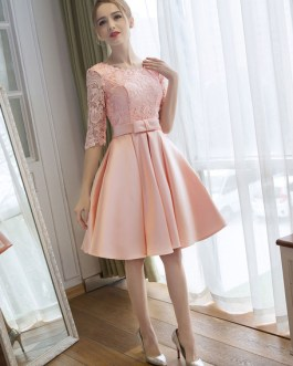 Cocktail Satin Homecoming Lace Half Sleeve wedding guest dress