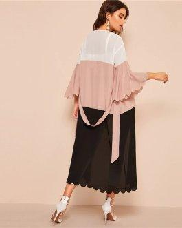 Colorblock Scalloped Trim Abaya Pink Deep V Neck Dress