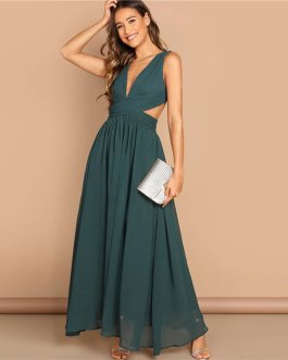 Green Plunge Neck Crisscross Waist Ball Dress