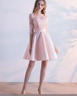 Lace Homecoming Jewel Neckline Three Quarter Sleeve Mini Dress