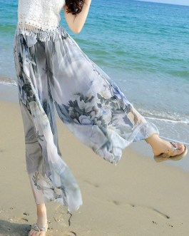 Multicolor Print Oversized Elastic Waist Chiffon Pants for Women