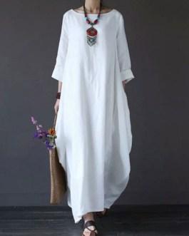 Oversized Batwing Sleeve Scoop Neck Maxi Dress
