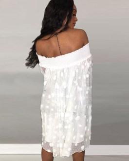 Oversized Shift Lace Tulle Midi Dress