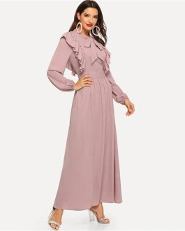 Pink Abaya Tie Neck Fit and Flare Ruffle Pleated High Waist A Line Dress