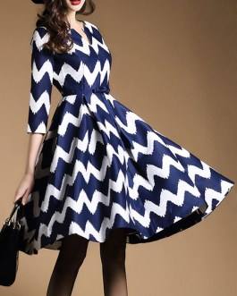 Skater Dress Zigzag Pattern V Neck Pleated Bow Fit And Flare Dress