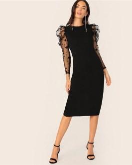 Star Print Puff Sleeve Long Sleeve Elegant Bodycon Party Dress