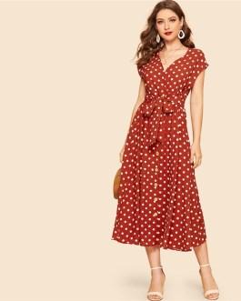 Vintage Polka-dot Print Belted Shirt Button Cap Sleeve Long Dress