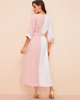 White And Pink Colorblock H Type Dress