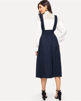 Women Classy Retro High Waist Flare Belted Skirt With Frilled Strap